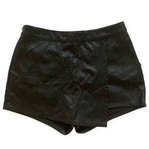 H&M Divided Black Leather Asymmetrical Skort